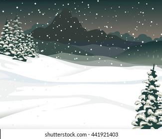 beauty snow mountain cartoon with pine tree background