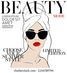 Beauty spa face with red lips and with sunglasses, pretty woman in towel and bathrobe in style of magazine cover design. Portrait girl Fashion style, beauty. Graphic, sketch drawn. Vector illustration