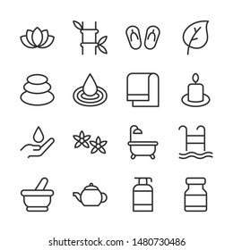 Beauty and spa line icons set vector illustration. Contains such icon as flower, towel, candle, bamboo and more. Editable stroke