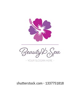 Beauty and spa logo template design with hibiscus