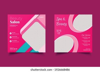 Beauty Spa Salon Makeup Social media post Banner Square Flyer Template Design