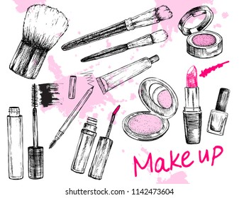 Beauty store collection with make up