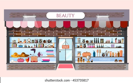22ea23438 Beauty store fashion shop building showcases with fashionable clothes  cosmetics vector cartoon illustration