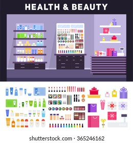 Beauty store vector flat illustrations. Health and beauty store with cosmetics. Make up concept. Different cosmetics, gifts, creams for body isolated on white background