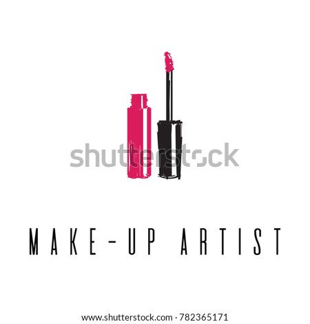 Beauty studio concept. Makeup artist fashion logo design. Lettering illustration. Lip gloss and