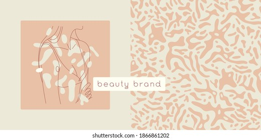 Beauty studio logo design in trendy soft hue. Vector feminine symbol design template minimal line style. Abstract animal skin pattern. Light seamless background for cosmetic label. Body care insignia.