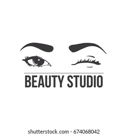 Beauty studio logo. Typography poster. Eyes and brows. Vector illustration for gift card. Black on white background.