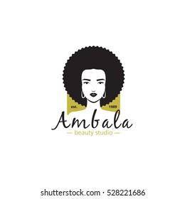 Beauty studio and spa salon logo. Woman's head logotype. African style  vector barbershop logo.