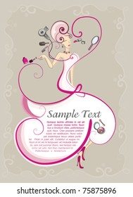 Beauty style hair and makeup flyer template for hairdressers and salons. bridal dress vector design