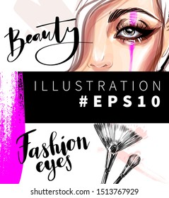 Beauty and style vector fashion illustration. Woman beautiful eye makeup and cosmetic brushes. Glamour background design.