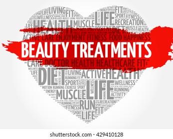 Beauty Treatments heart word cloud, fitness, sport, health concept