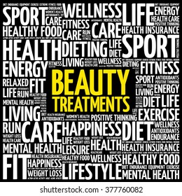 Beauty Treatments word cloud background, health concept