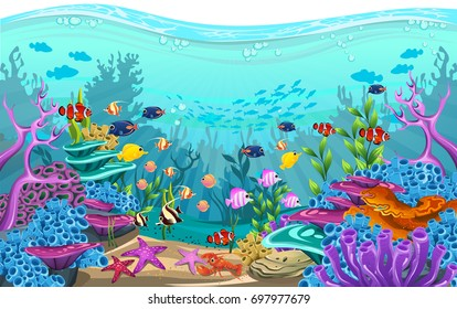 The beauty of underwater life with different animals and habitats. Clear sea water