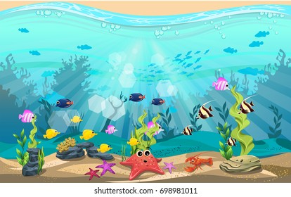 The beauty of underwater life with different animals and habitats. Marine life is shining and colorful with algae, coral and coral reefs