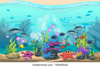 The beauty of underwater life with different animals and habitats. Marine life is shining and colorful with bluefin tuna fish, algae, coral and coral reefs