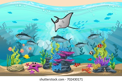 The beauty of underwater life with different animals and habitats. Marine life is shining and colorful with bluefin tuna fish, manta ray, algae, coral and coral reefs