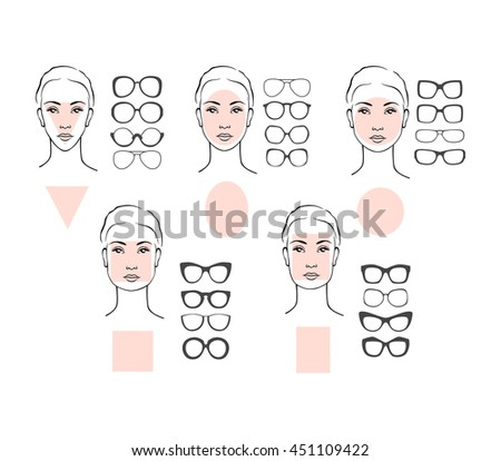 868f882c45 Beauty vector illustration of sunglasses for different faces. Five female  face types  round