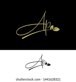 Beauty vector Initial letters AP with leaf. Signature, handwriting, fashion, boutique, wedding, jewelry, botanical , floral logo creative Vector logo Design template