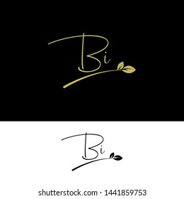 Beauty vector Initial letters BI with leaf. Signature, handwriting, fashion, boutique, wedding, jewelry, botanical , floral logo creative Vector logo Design template
