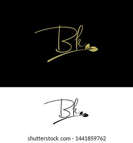 Beauty vector Initial letters BK with leaf. Signature, handwriting, fashion, boutique, wedding, jewelry, botanical , floral logo creative Vector logo Design template