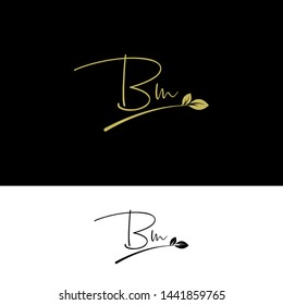 Beauty vector Initial letters BM with leaf. Signature, handwriting, fashion, boutique, wedding, jewelry, botanical , floral logo creative Vector logo Design template