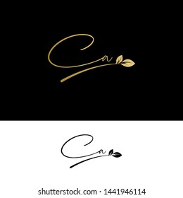 Beauty vector Initial letters CA with leaf. Signature, handwriting, fashion, boutique, wedding, jewelry, botanical , floral logo creative Vector logo Design template
