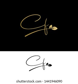 Beauty vector Initial letters CF with leaf. Signature, handwriting, fashion, boutique, wedding, jewelry, botanical , floral logo creative Vector logo Design template