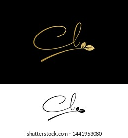 Beauty vector Initial letters CL with leaf. Signature, handwriting, fashion, boutique, wedding, jewelry, botanical , floral logo creative Vector logo Design template