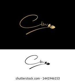 Beauty vector Initial letters CM with leaf. Signature, handwriting, fashion, boutique, wedding, jewelry, botanical , floral logo creative Vector logo Design template