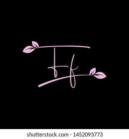 Beauty vector Initial letters F F with leaf. Signature, handwriting, fashion, boutique, wedding, jewelry, botanical , floral logo creative Vector logo Design template