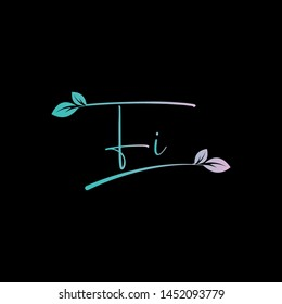 Beauty vector Initial letters F I with leaf. Signature, handwriting, fashion, boutique, wedding, jewelry, botanical , floral logo creative Vector logo Design template