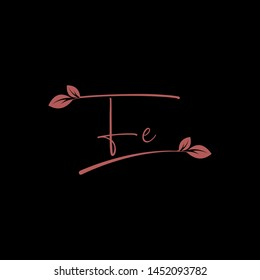 Beauty vector Initial letters F E with leaf. Signature, handwriting, fashion, boutique, wedding, jewelry, botanical , floral logo creative Vector logo Design template