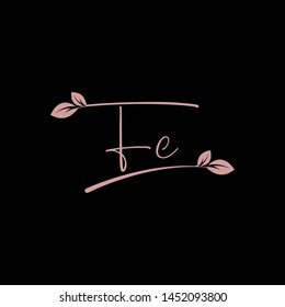 Beauty vector Initial letters F C with leaf. Signature, handwriting, fashion, boutique, wedding, jewelry, botanical , floral logo creative Vector logo Design template