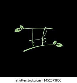 Beauty vector Initial letters F B with leaf. Signature, handwriting, fashion, boutique, wedding, jewelry, botanical , floral logo creative Vector logo Design template