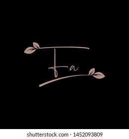 Beauty vector Initial letters F A with leaf. Signature, handwriting, fashion, boutique, wedding, jewelry, botanical , floral logo creative Vector logo Design template