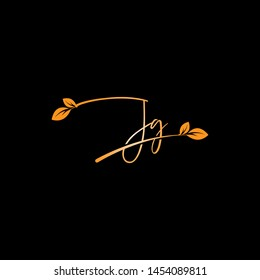 Beauty vector Initial letters J G with leaf. Signature, handwriting, fashion, boutique, wedding, jewelry, botanical , floral logo creative Vector logo Design template