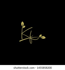 Beauty vector Initial letters K F with leaf. Signature, handwriting, fashion, boutique, wedding, jewelry, botanical , floral logo creative Vector logo Design template