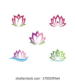 Beauty Vector lotus flowers design logo Template