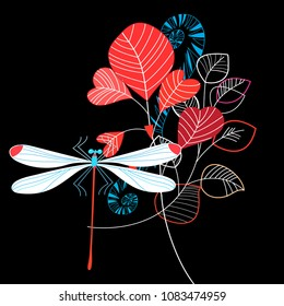 Beauty Vivid illustration of summer leaves and dragonfly on dark background