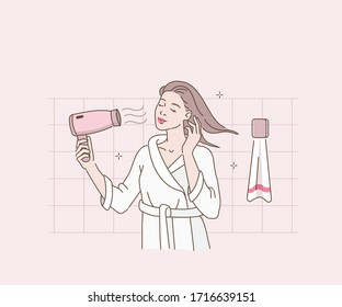 Beauty Woman in Bathrobe Drying her Hair with Hairdryer. Woman in Bathroom Taking Care of her Hair.  Girl Making Haircare Procedures with Blow Dryer. Flat Cartoon Vector Illustration.