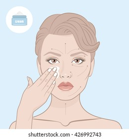 Beauty woman face and cream jar. Girl put the cream on her face. Scheme of correctly applying the cream on the face. Directional arrows.