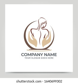 Beauty woman face logo symbol. Modern vector illustration