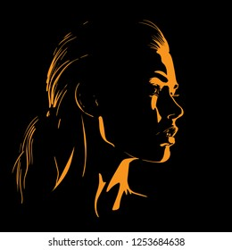 Beauty Woman Face silhouette in contrast backlight. Vector. Illustration.