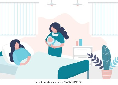 Beauty woman lies on bed after giving birth,nurse hold newborn baby. Room in the perinatal center. Interior with furniture. Health care and motherhood concept. Trendy vector illustration