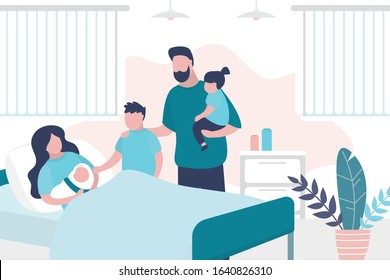 Beauty woman lies on bed after giving birth and hold newborn baby. Husband with children. Room in the perinatal center. Interior with furniture. Health care and motherhood concept. Trendy vector