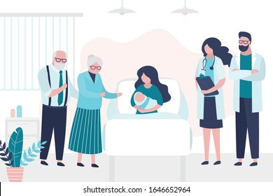 Beauty woman lies on bed and hold newborn baby. Patient with grandparents and doctors. Room in the perinatal center.Medical examination, consultation or checkup. Health care,motherhood concept. Vector