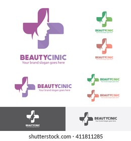 Beauty Woman Medical Clinic Logo with Face and Cross Symbol.