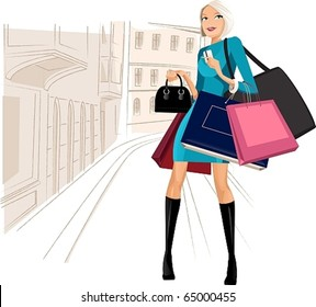 beauty woman on shopping in the city