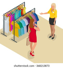 Beauty Woman with Shopping Bags in store. Flat 3d isometric illustration. For infographics and design