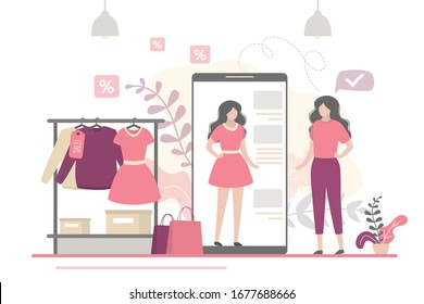 Beauty woman trying on things in virtual fitting room. App on mobile phone is an online dressing room. Banner with new fashion technologies. Internet store, online shopping. Flat vector illustration